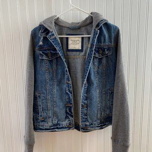 Abercrombie and Fitch Hooded Denim Sweater Jacket